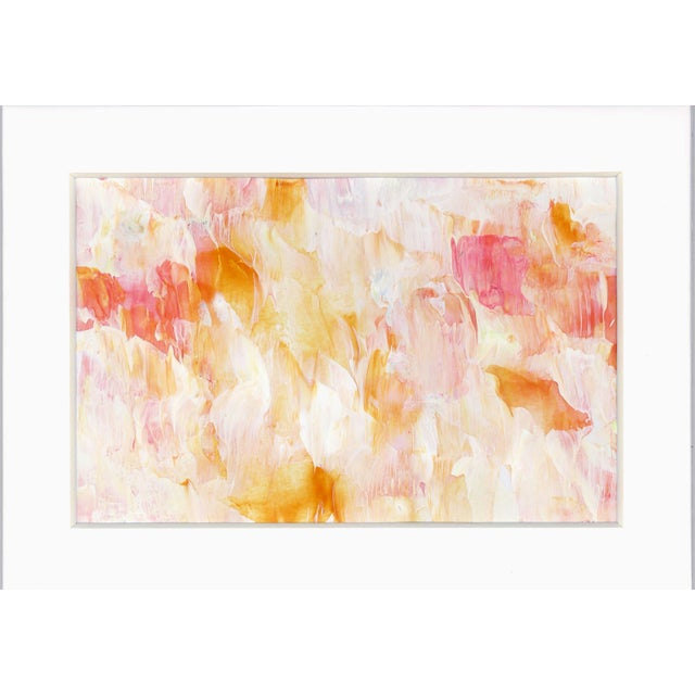 Original Frothee Modern Abstract Peach, Yellow & White Matted Impasto Acrylic Painting - Image 4 of 4