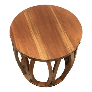 Wooden Barrel Side Table