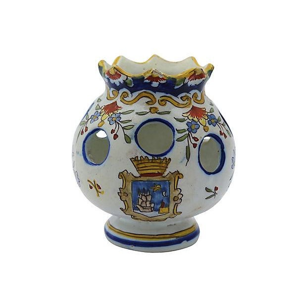Image of Antique French Faience Potpourri Pot