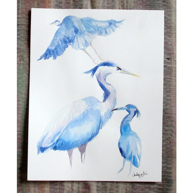 """""""Blue Herons"""" Original Watercolor Painting - Image 2 of 3"""