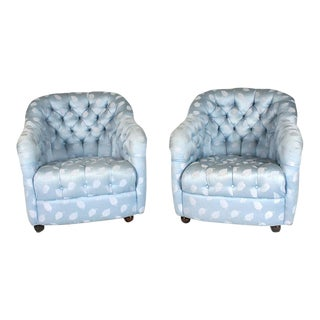 Ward Bennett Button Tufted Barrel Chairs on Casters - a Pair