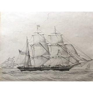 19th C. American Sailing Ship Drawing