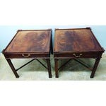 Image of Baker Mahogany Chippendale Side Tables - A Pair