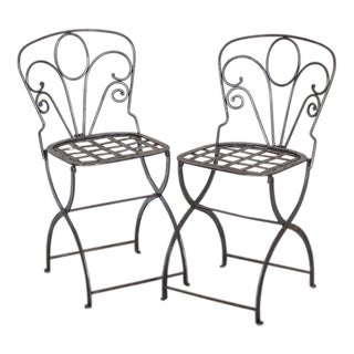 Pair Vintage French Folding Steel Garden Chairs circa 1940