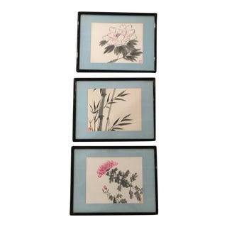 Asian Watercolor Paintings - Set of 3