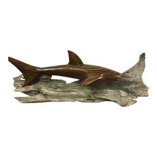 Burlwood Shark Sculpture on Natural Driftwood