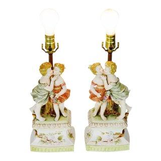 Vintage Arnart Porcelain Figural Lamps- A Pair