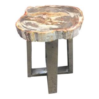 Petrified Wood and Chrome Side Table