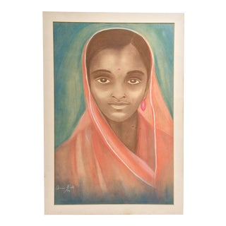 Vintage Original Portrait Drawing on Paper - 1970s Original Portrait of an Indian Woman by Anne Bell