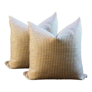 Striped Linen and Silk Pillows - A Pair