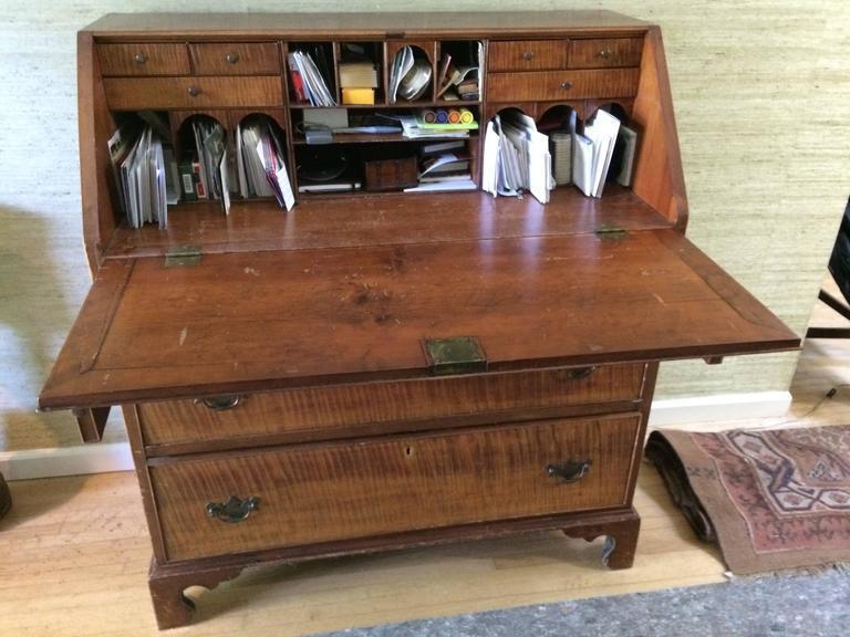 late 18th century antique tiger maple u0026 cherry slant front desk secretary image 2 of