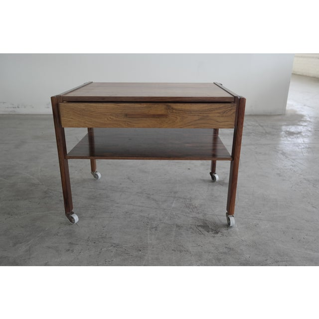 Mid-Century Rosewood Danish Sewing Table - Image 3 of 7