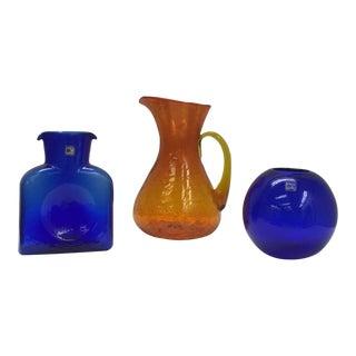 Blenko Cobalt Vases and Orange Crackle Pitcher - Set of 3