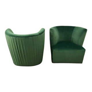 20th Century Modern Pr. of A. Rudin Emerald Velvet Swivel Lounge Chairs