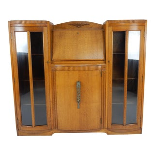 Antique English Art Deco Oak Side by Side Bookcase / Front Drop Desk