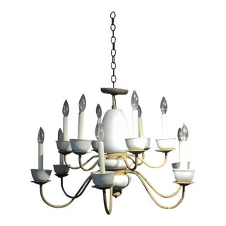 Antique Metal & Ceramic Chandelier