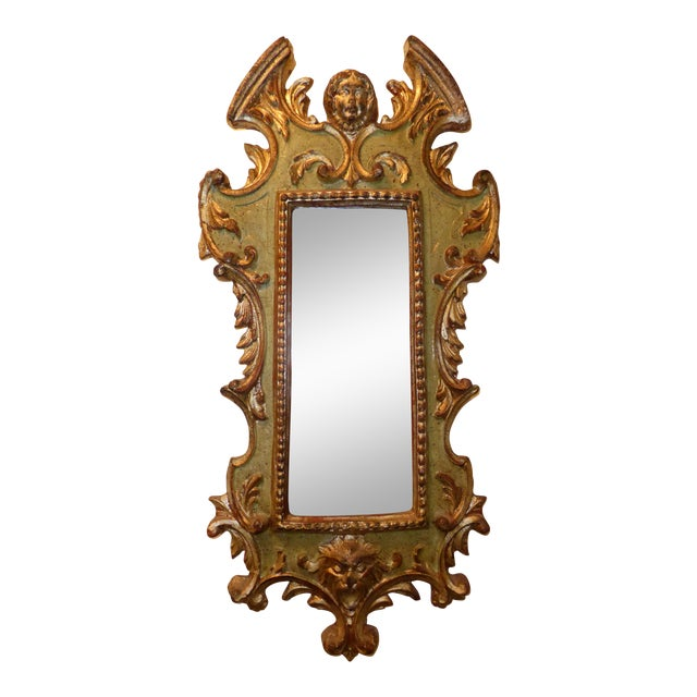 Image of Vintage Rococo Green & Gold Gilt Carved Wood Mirror