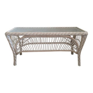Vintage Ficks Reed Rattan Console Table