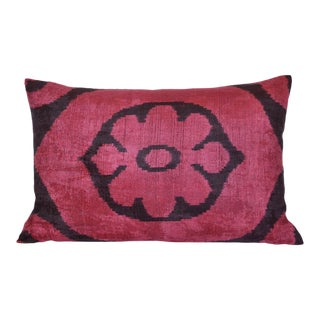 """Flora"" Silk Velvet Ikat Pillow"