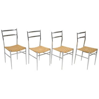 Italian Chrome & Woven Grass Seat Chairs - Set of 4