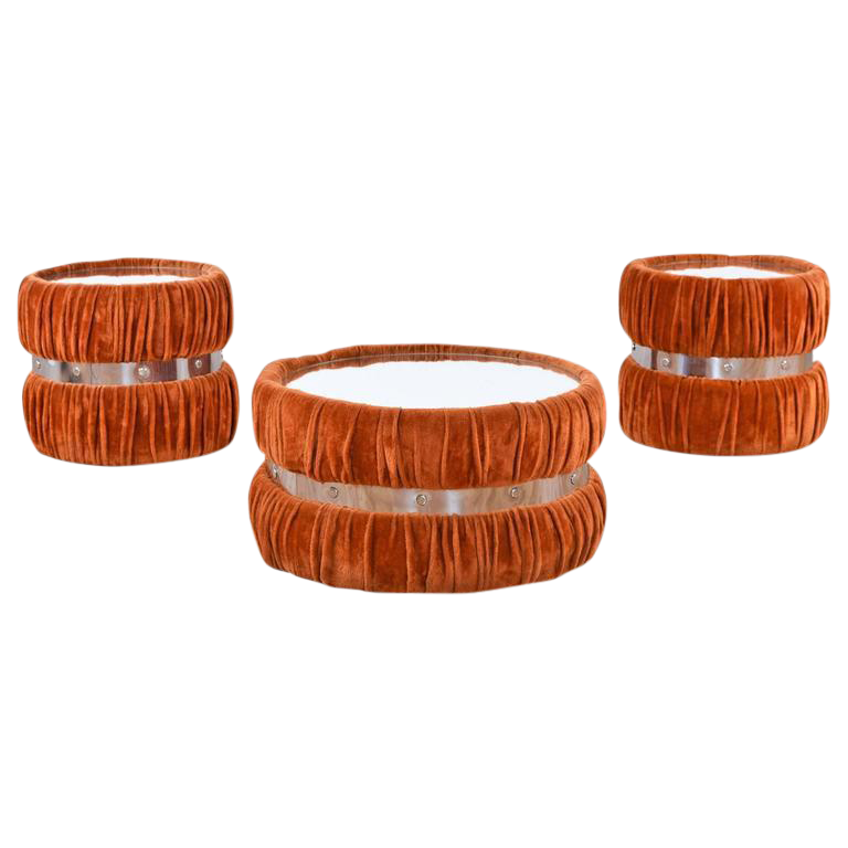 Vintage Fuzzy Orange Coffee Table U0026 End Tables   Set ...