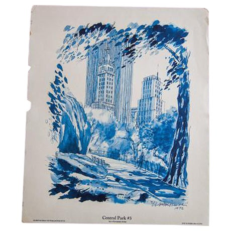 Blue Minimalistic Central Park NYC Lithograph 3 - Image 1 of 6