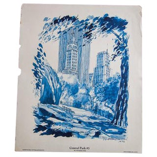 Blue Minimalistic Central Park NYC Lithograph 3