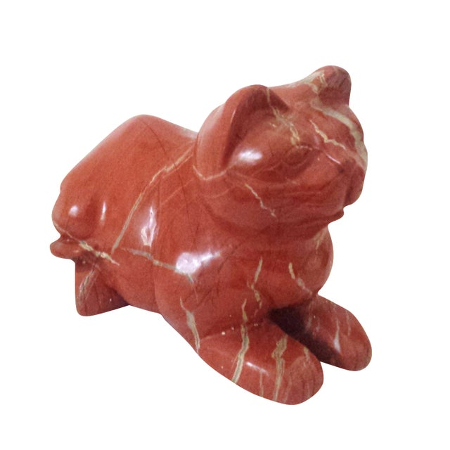 Mid-Century Chinese Red Carved Jasper Cat - Image 1 of 7