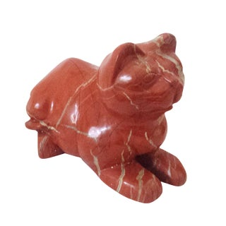 Mid-Century Chinese Red Carved Jasper Cat