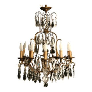 Circa 1930 French Bronze & Hand-Cut Crystal 10 Light Chandelier