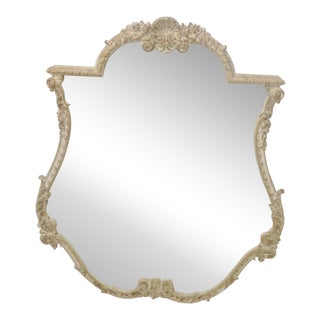 French Style Distressed Cream Shell Motif Painted Mirror