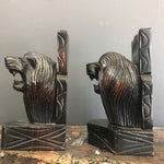 Image of Hand Carved Lion Bookends- A Pair