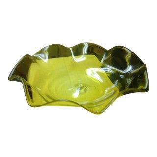 Vintage Blenko Monumental Jonquil Yellow Glass Large Ruffled Bowl