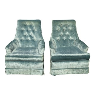 Mid-Century Blue Velvet Swivel Chairs - A Pair