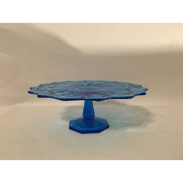 Blue Depression Style Glass Cake Stand - Image 2 of 6