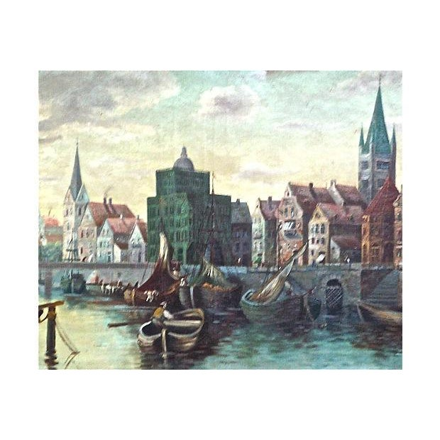 O. Gilbert Antique Harbor Scene Oil Painting - Image 3 of 4
