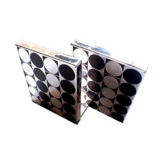 Durand Vintage Black-Silver Foiled Bookends - Pair