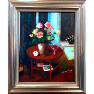 """Rose Bouquet In Corner"" Still Life Oil Painting"