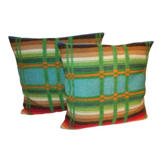 Pair of Vibrant 19th Century Horse Blanket Pillows