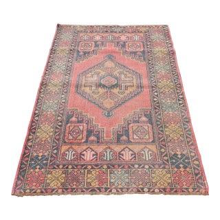 "Vintage Turkish Handmade Anatolian Wool Carpet - 3'6"" X 5'6"""