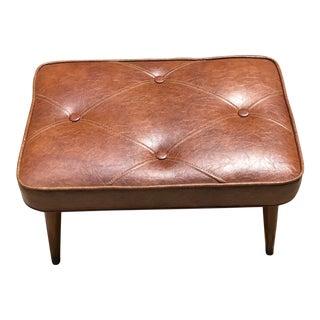 Mid-Century Brown Naugahyde Hassock Footstool