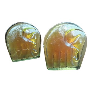 Vintage Blenko Glass Elephant Bookends - A Pair