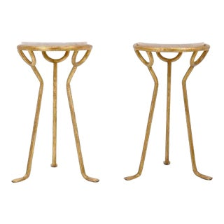 Elegant Italian Gold Gilded Side Tables with Travertine Tops