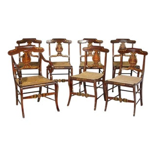 A Set of Seven Rosewood Grained Gilt Fancy Chairs