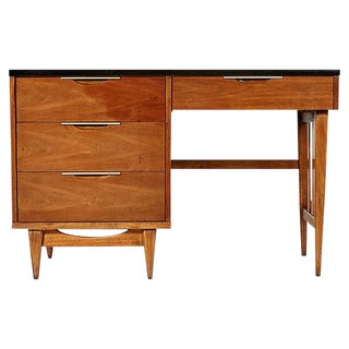 1960s Walnut & Black Top Desk