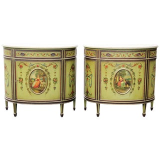 Adams Style Paint Decorated Commodes - A Pair