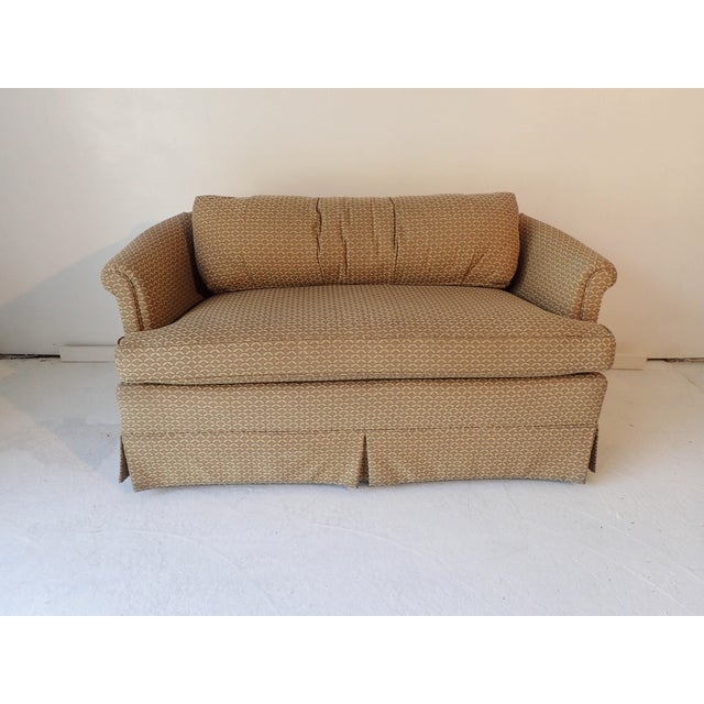 Low-Back Upholstered Mahogany Frame Settee - Image 4 of 6