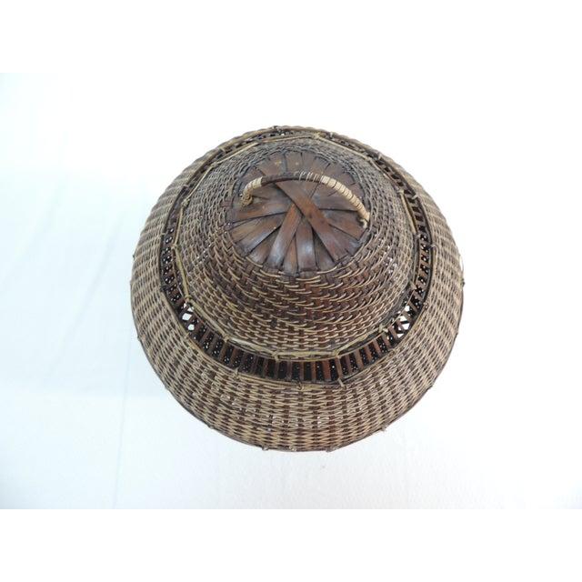 Vintage Asian Lidded Woven Basket - Image 3 of 4