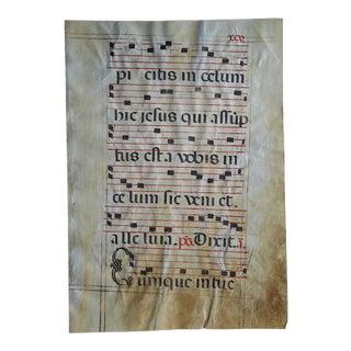 14th/15th C. Antique Large Antiphonal On Vellum-Illuminated Manuscript