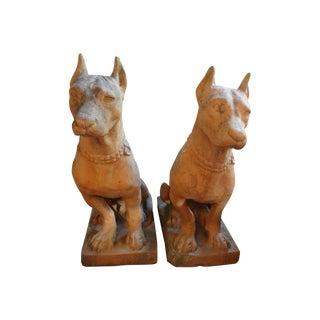 Antique Italian Terra Cotta Dog Statues - A Pair